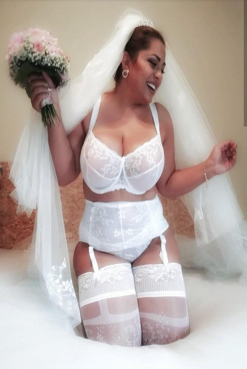 White embroidered lace Plus Size Bra unpadded