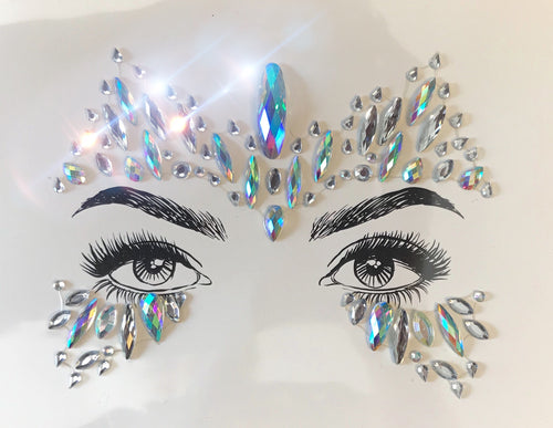 Glitter eyes No. 1 AB Rhinestone crystals, above and under eyes jewels