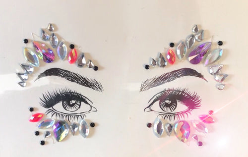 Glitter Eyes Pink Purple AB Crystal face jewels No. 4