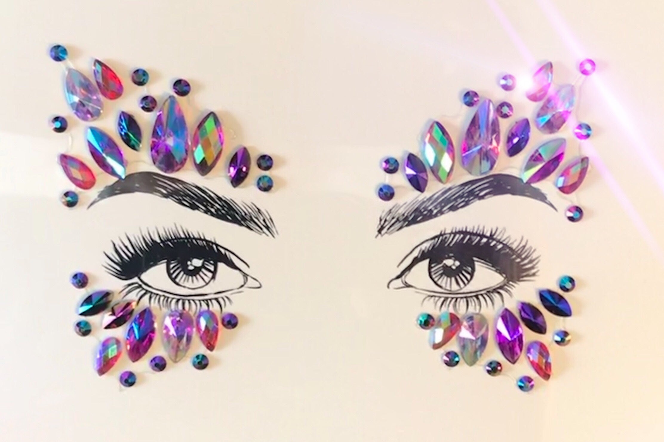 Glitter Eyes Pink Purple Rainbow face jewels No. 6