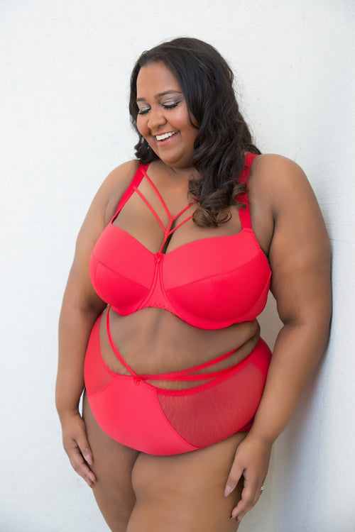 Red Strap Plus Size Harness Bra padded