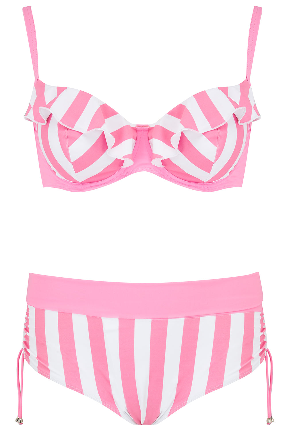 Pink Candy Stripe Plus Size Frilly Bikini Top