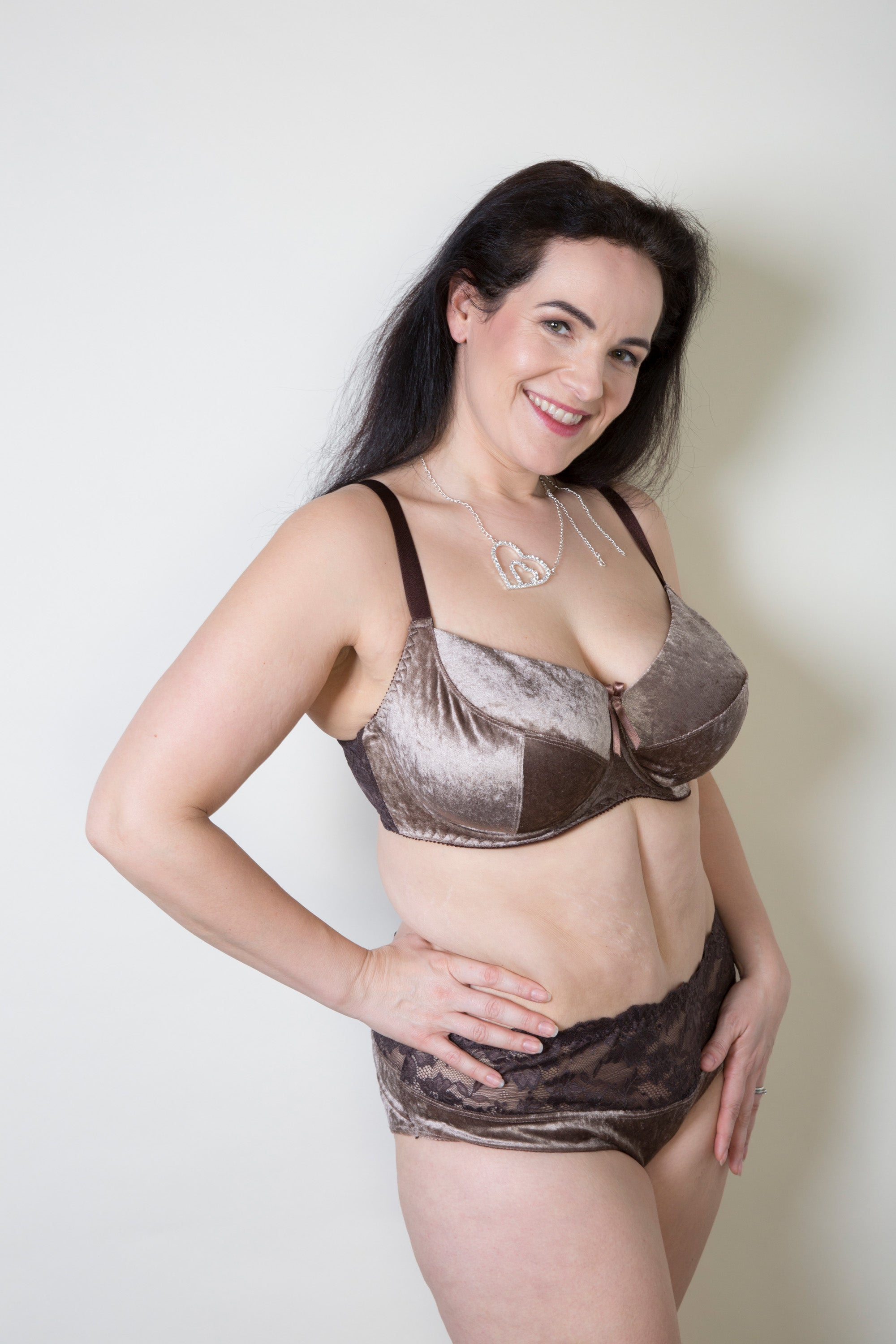 Mocha Brown Velvet Plus size Briefs Lace Back