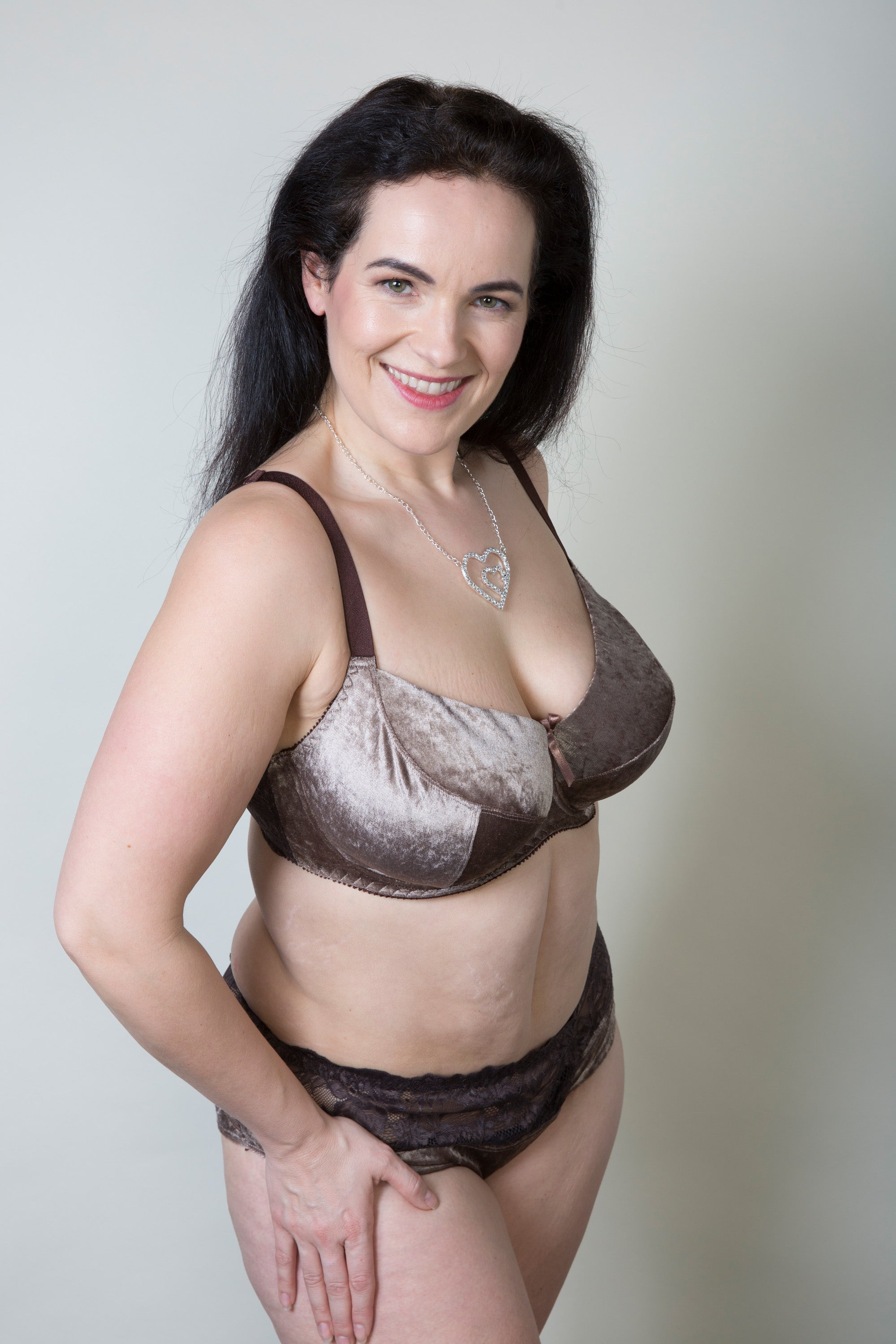 Mocha Velvet Lace Top Plus Size Briefs