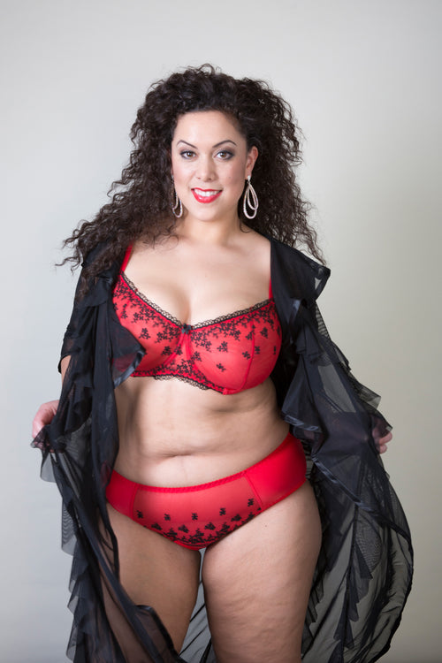 Red Plus Size lace Bra sheer lace unpadded