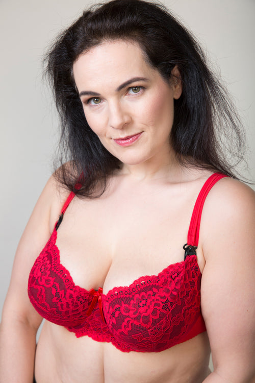 Red Lace Plus Size Maternity Nursing Bra