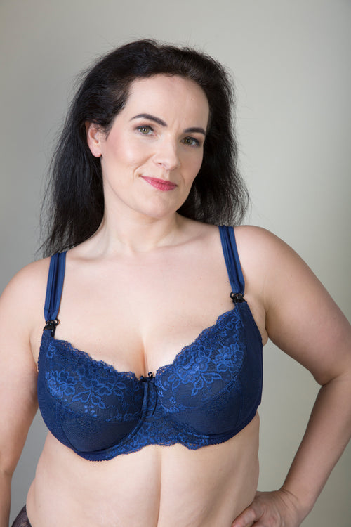Blue Lace Plus Size Maternity Bra