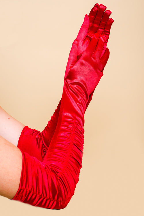 RED ABOVE ELBOW SATIN GLOVES