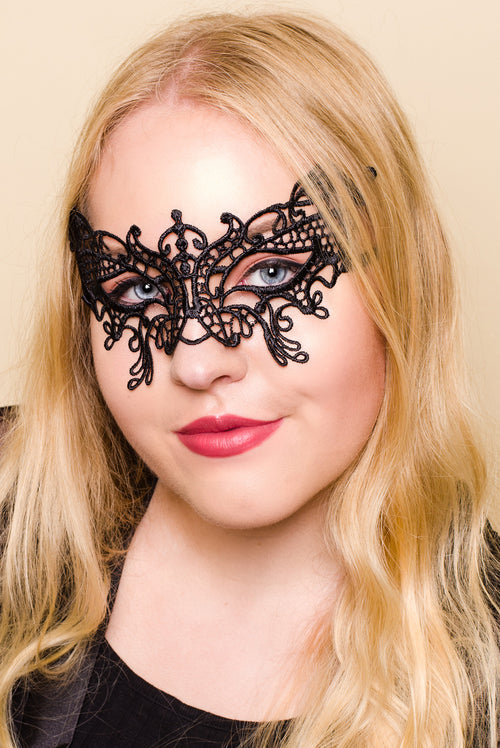 Black Crochet Eye Mask Sexy for Masquerade Party Costume
