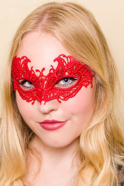 Red Crochet Eye Mask Sexy for Masquerade Party Costume