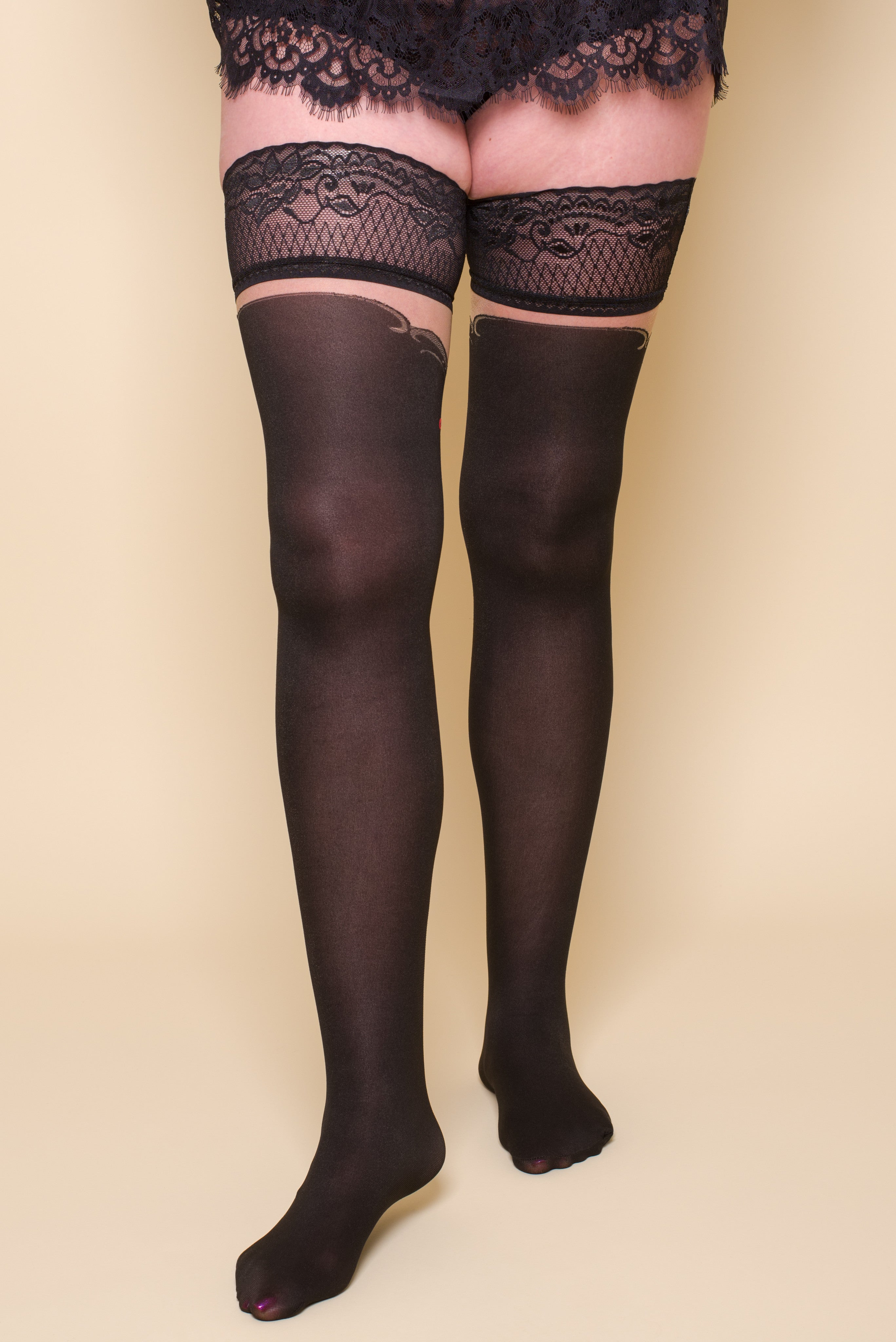 OPAQUE BLACK AND RED HOLLY HOLD-UPS STOCKINGS