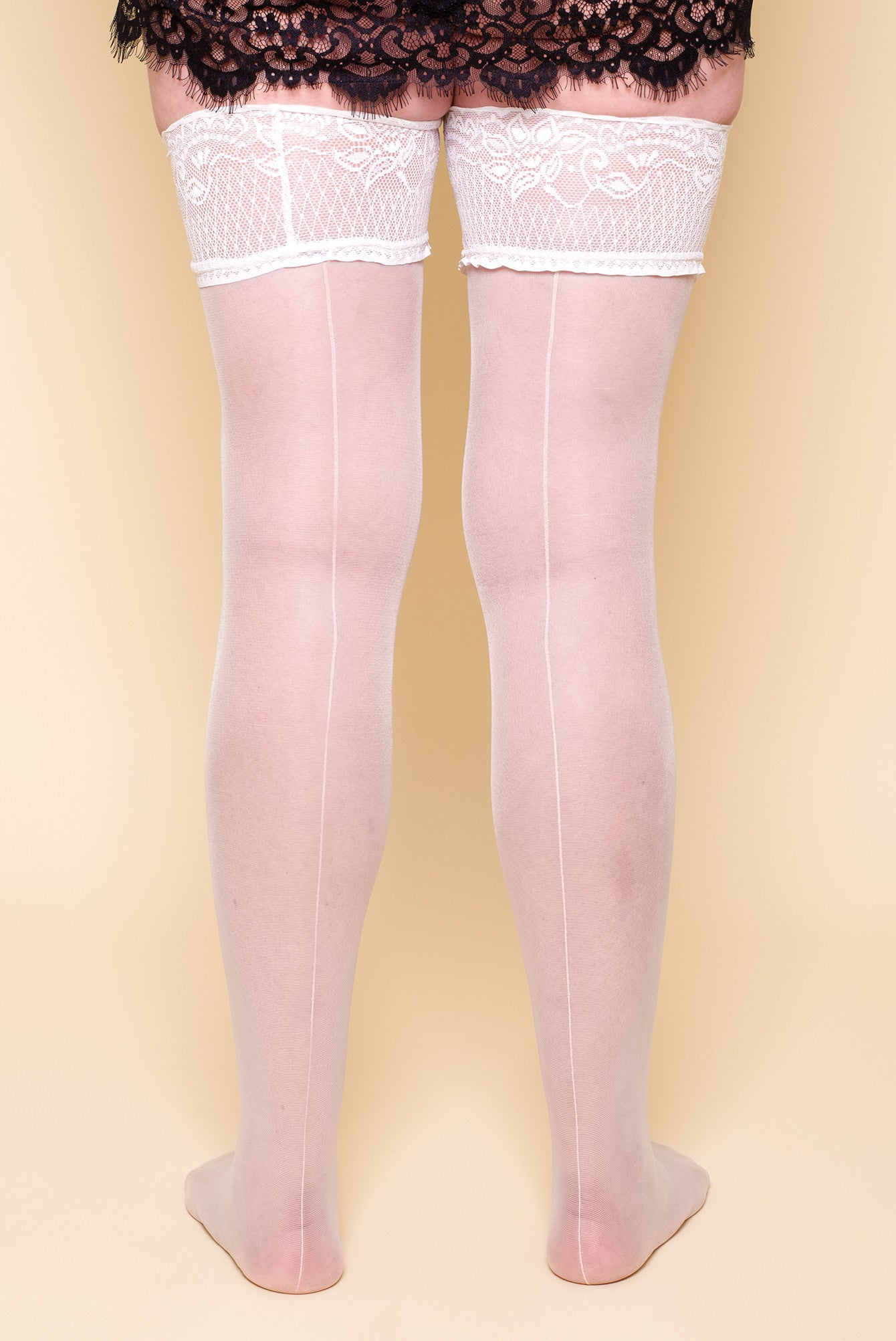White Plus Size Hold-Ups Stockings Lace top nylons