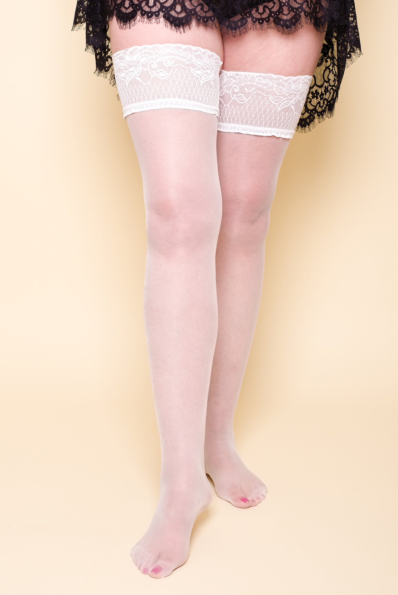 PINSTRIPE WHITE PLUS SIZE FRANKIE HOLD-UPS STOCKINGS