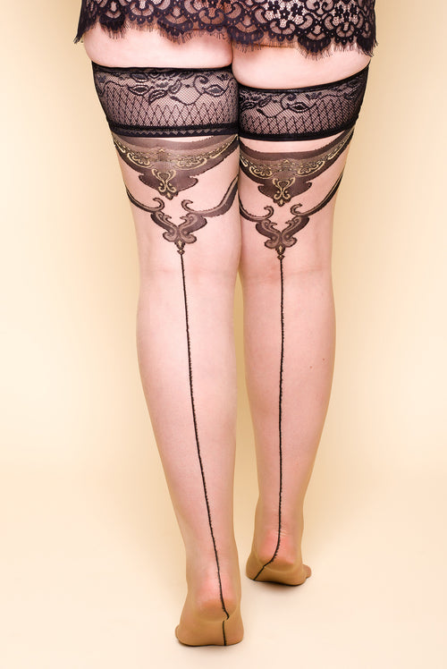 Plus size Pinstripe Hold-Ups Stockings Lace Top Nylons