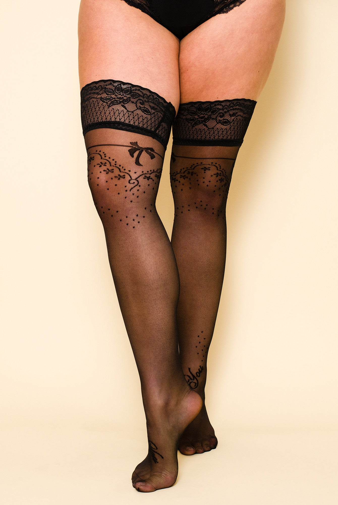 Black Italian Embroidered  Hold-Ups Stockings Nylons Lace Top