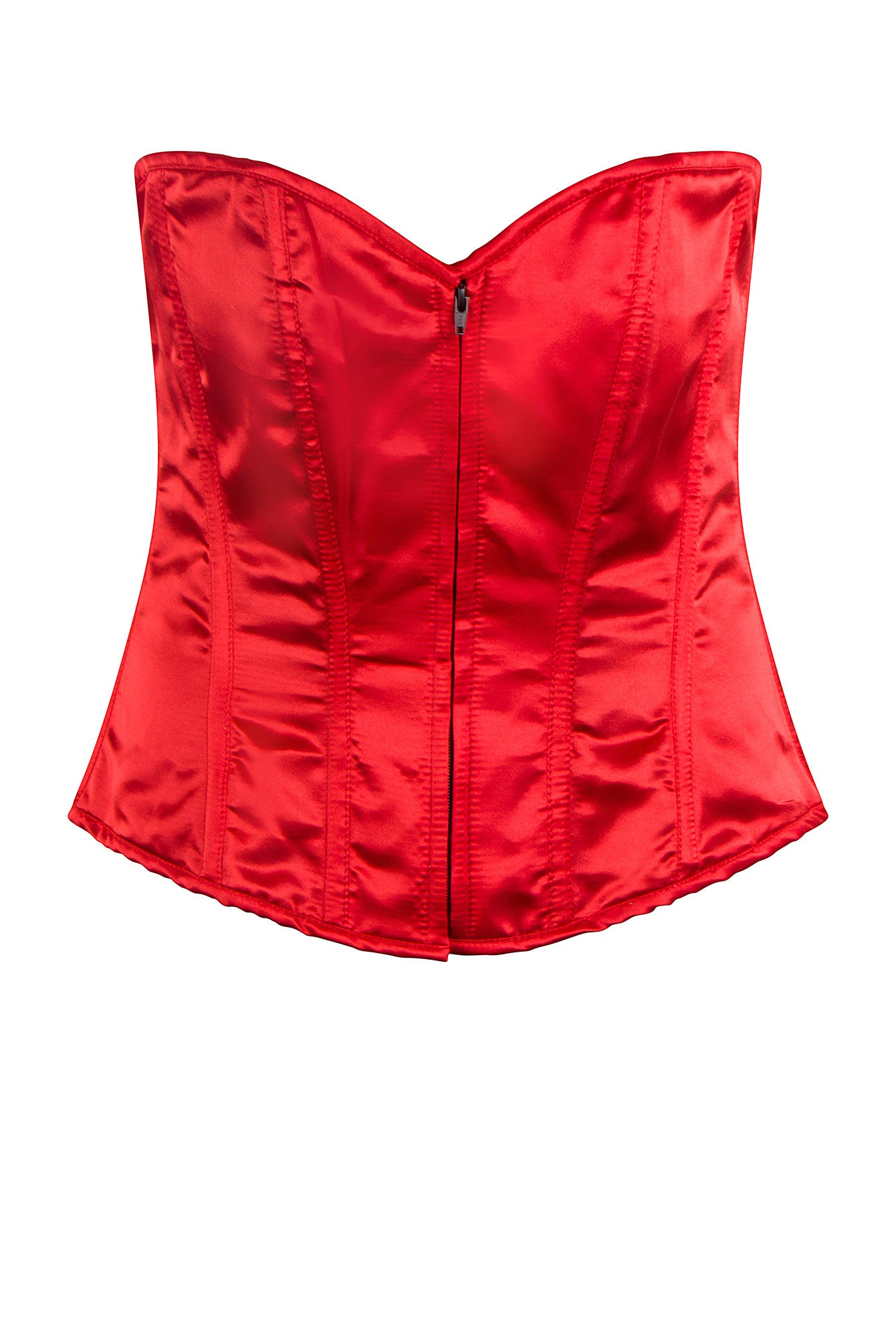 RED SATIN DELUXE PLUS SIZE CORSET BASQUE