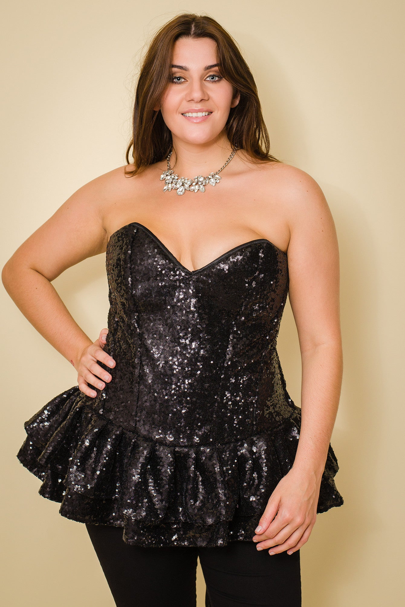 BLACK SEQUINS PLUS SIZE CORSET