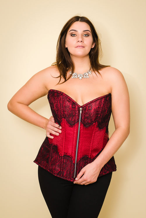 WINE RED PLUS-SIZE CORSET BASQUE