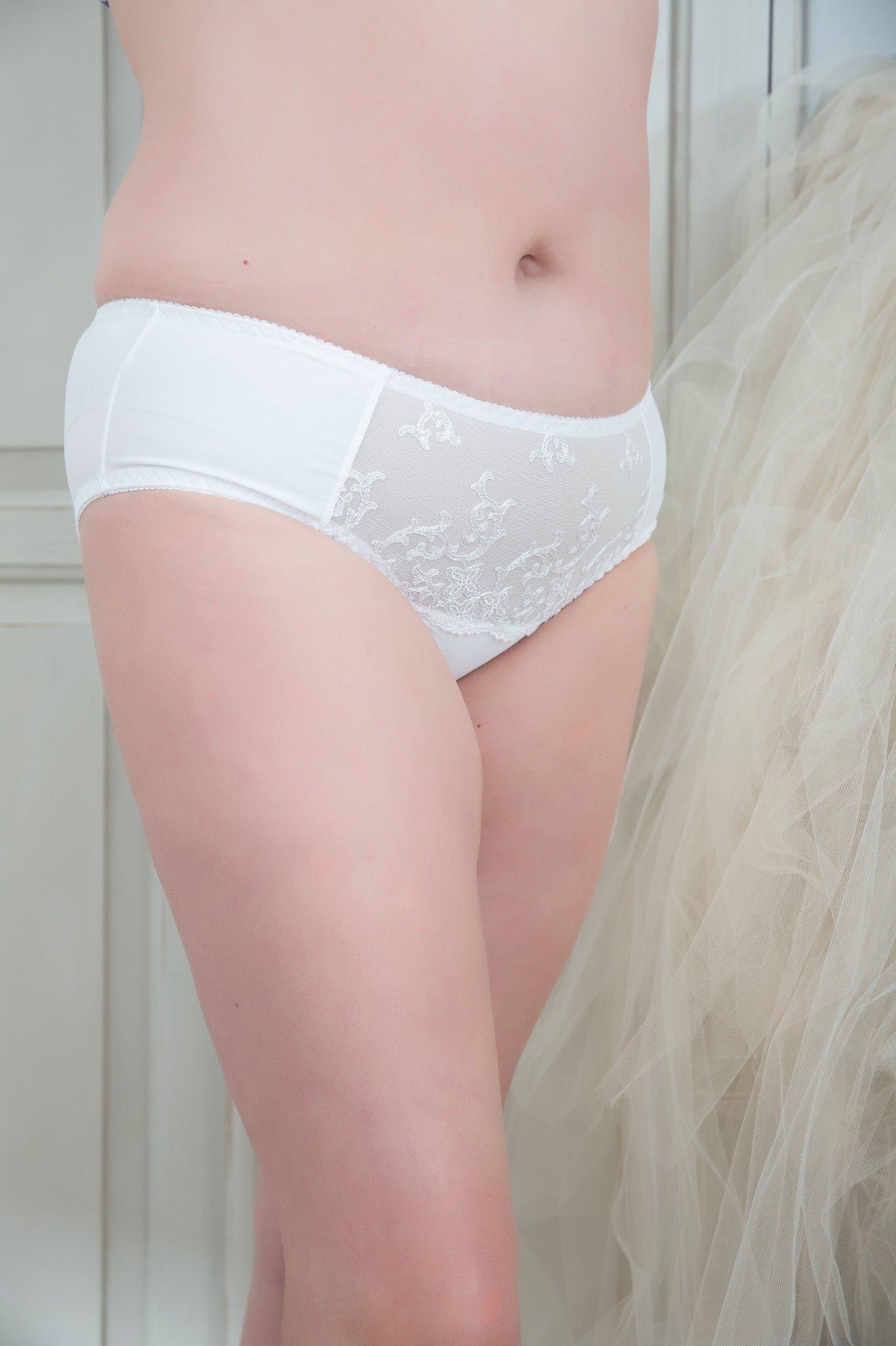 White Plus Size Lace Briefs Bottoms Panties