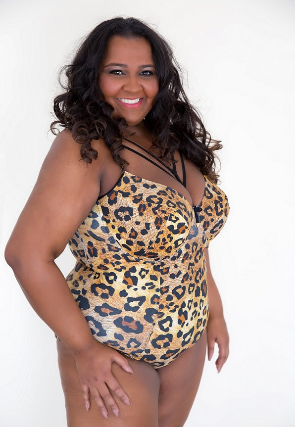 Leopard Print Gold Brown One Piece Plus Size Swimsuit