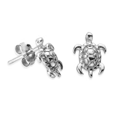 Sterling Silver Tiny Sea Turtle Earrings