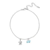 HANALEI Tiny Sea Turtle Anklet with Aquamarine Shard