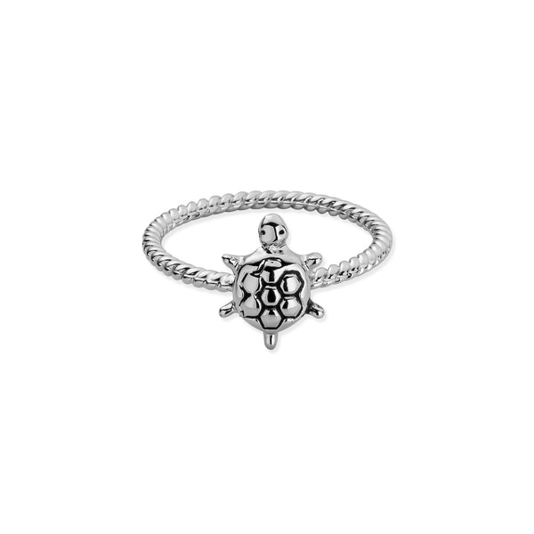 Sterling Silver Tiny Sea Turtle Twist Ring