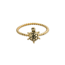 Sterling Silver Tiny Sea Turtle Twist Ring in Gold