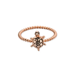 Sterling Silver Tiny Sea Turtle Twist Ring in Rose Gold