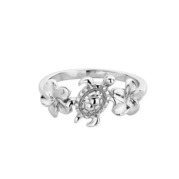 DREAMER Sea Turtle and Plumeria Flower Ring (3888184131681)