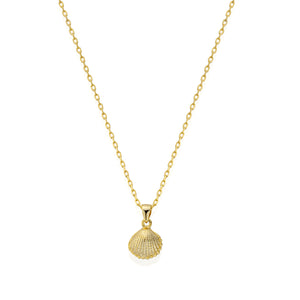 Sterling Silver Tiny Gold Shell Pendant Necklace
