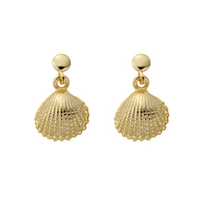 Sterling Silver Tiny Shell Earrings in Gold