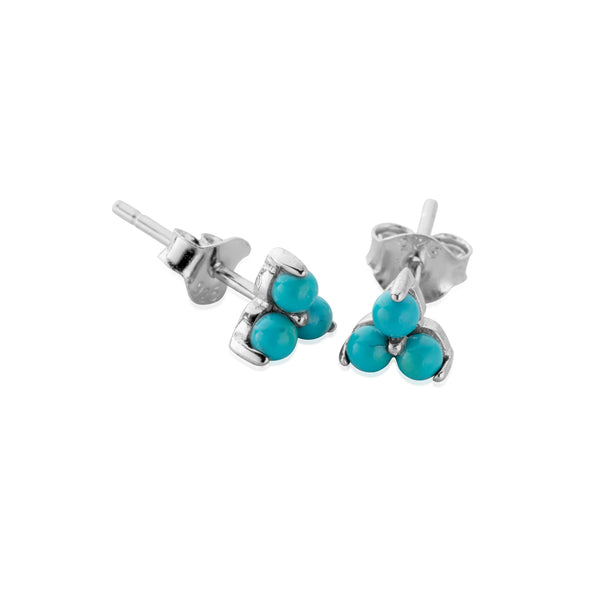 HANALEI Sterling Silver Tiny Turquoise Cluster Earrings