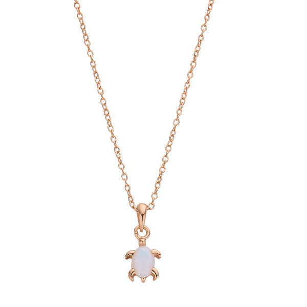 DREAMER Opal Sea Turtle Necklace in Rose Gold