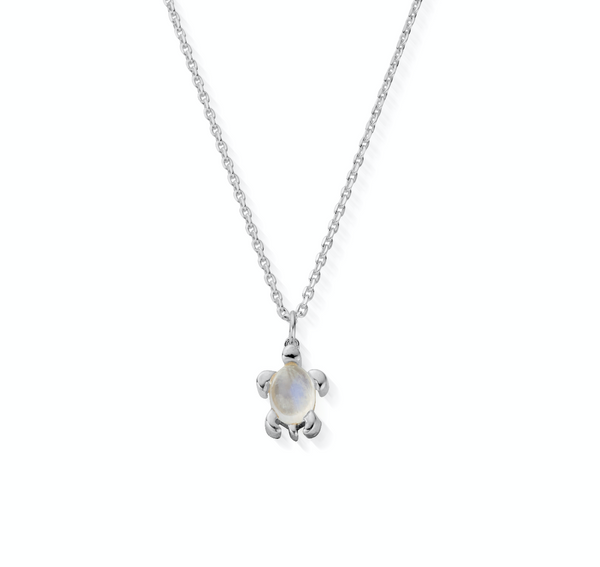 June Birthstone Sea Turtle Necklace - Genuine Moonstone