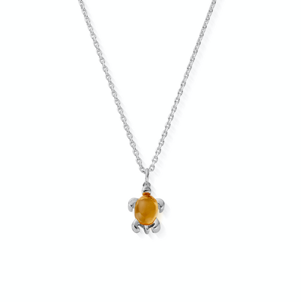 November Birthstone Sea Turtle Necklace - Genuine Citrine