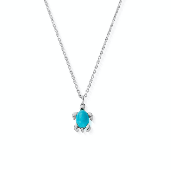 December Birthstone Sea Turtle Necklace - Genuine Turquoise