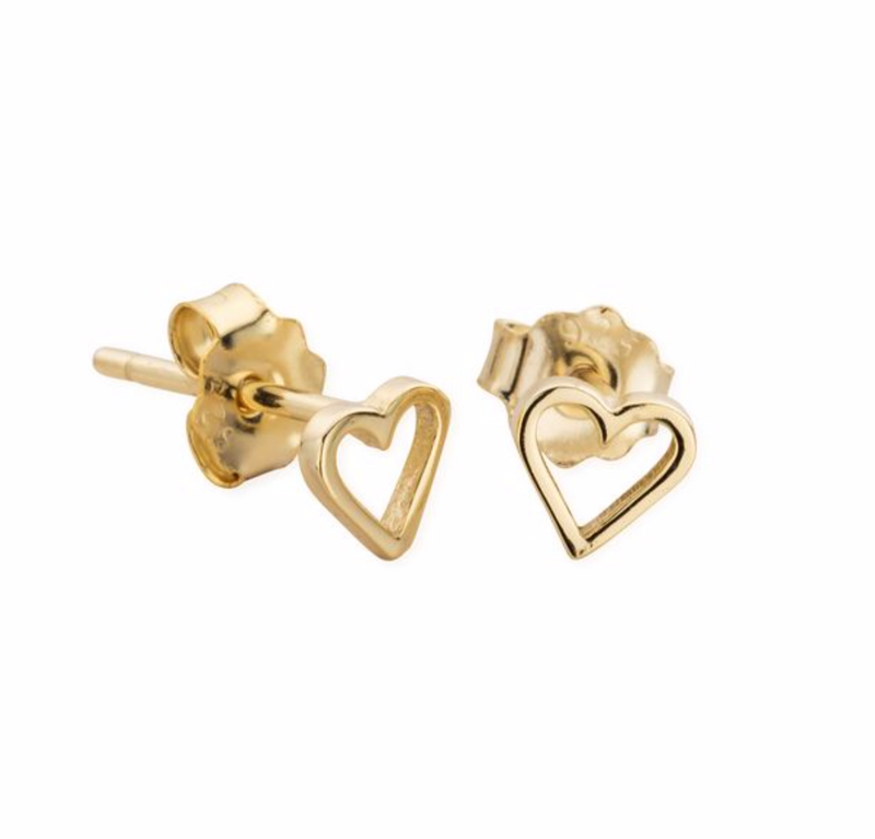 DREAMER Tiny Cut Out Heart Studs with 18ct Gold Plating