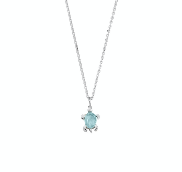 March Birthstone Sea Turtle Necklace - Genuine Aquamarine