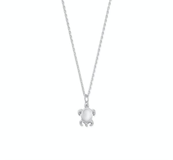 April Birthstone Sea Turtle Necklace - Genuine Rock Crystal