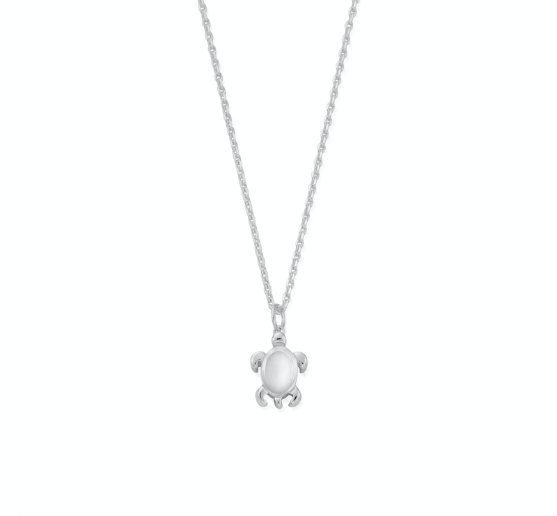 April Birthstone Sea Turtle Necklace - Genuine Rock Crystal (4835885252705)