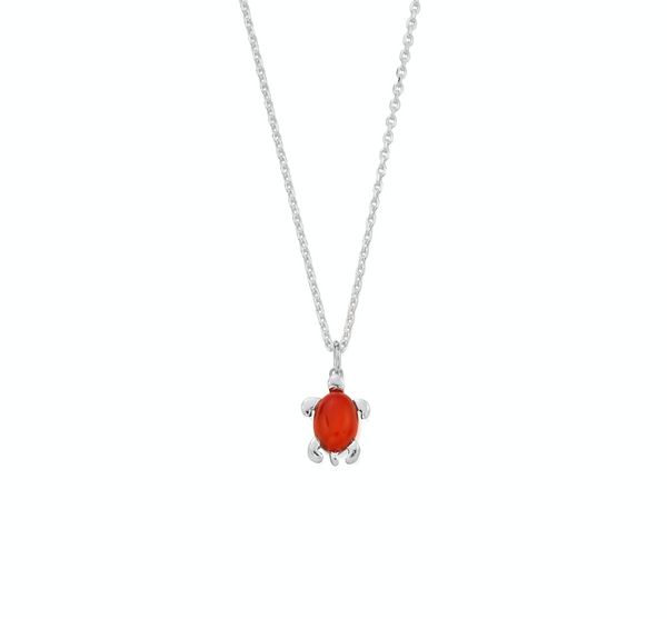July Birthstone Sea Turtle Necklace - Genuine Carnelian
