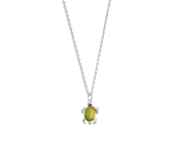 August Birthstone Sea Turtle Necklace - Genuine Peridot