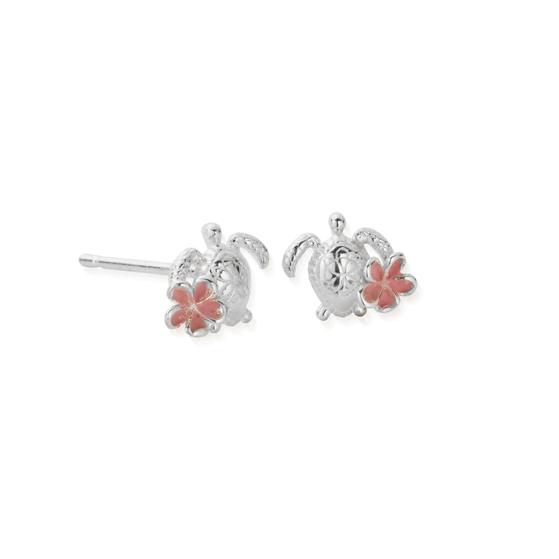 DREAMER Tiny Sea Turtle Earrings with Pink Plumeria Flower