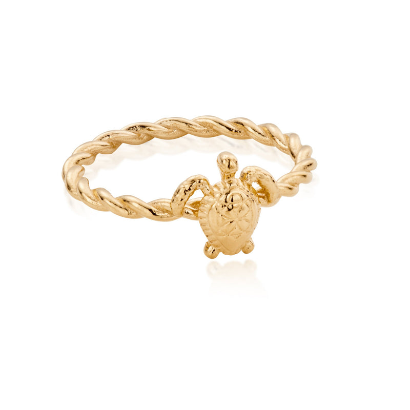 Sterling Silver honu Sea Turtle Ring with 18ct Gold Plating