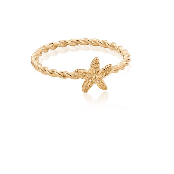 KAHAKAI Sterling Silver Tiny Starfish Ring with 18ct Gold Plating