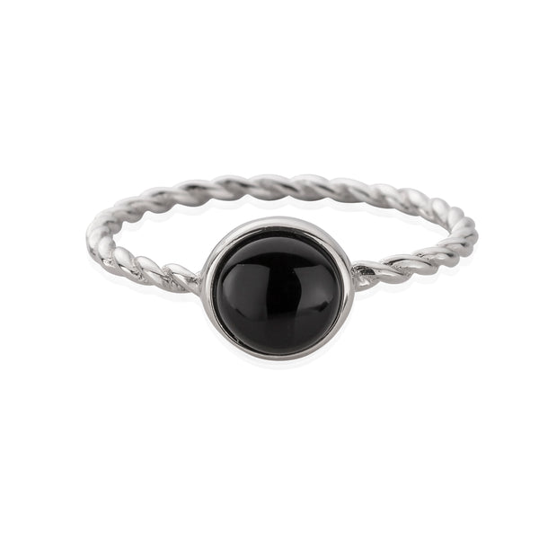 HANALEI Sterling Silver Black Agate Ring