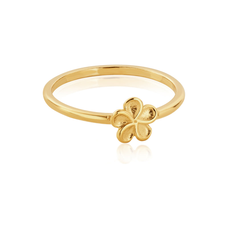 DREAMER Tiny Plumeria Flower Ring with 18ct Gold Plating