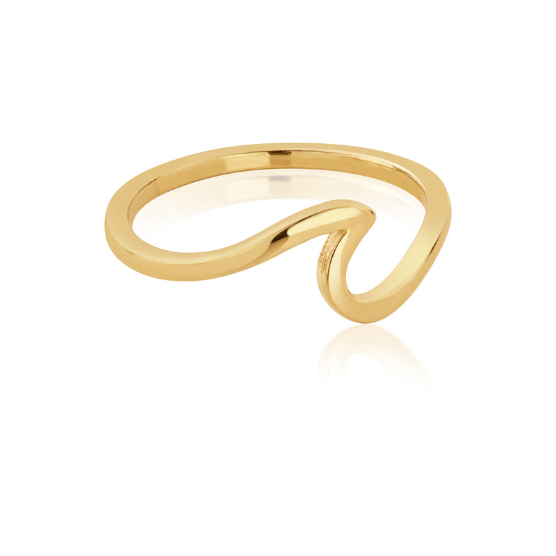 Sterling Silver Wave Ring in 18ct Gold Plating