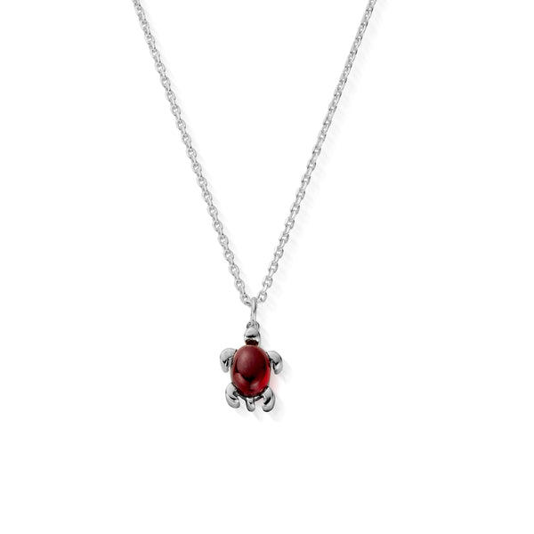 January Birthstone Sea Turtle Necklace - Genuine Garnet